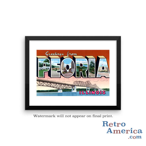 Greetings from Peoria Illinois IL Postcard Framed Wall Art