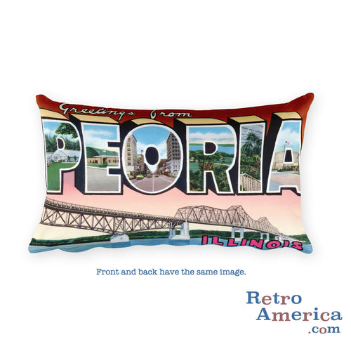 Greetings from Peoria Illinois Throw Pillow