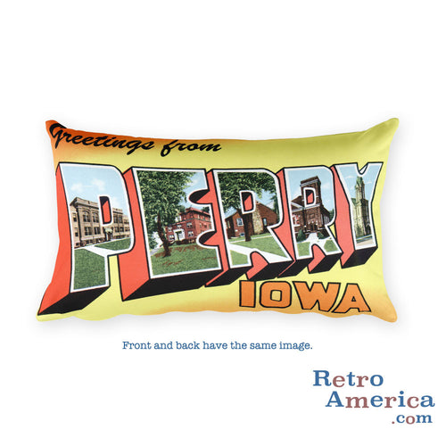 Greetings from Perry Iowa Throw Pillow