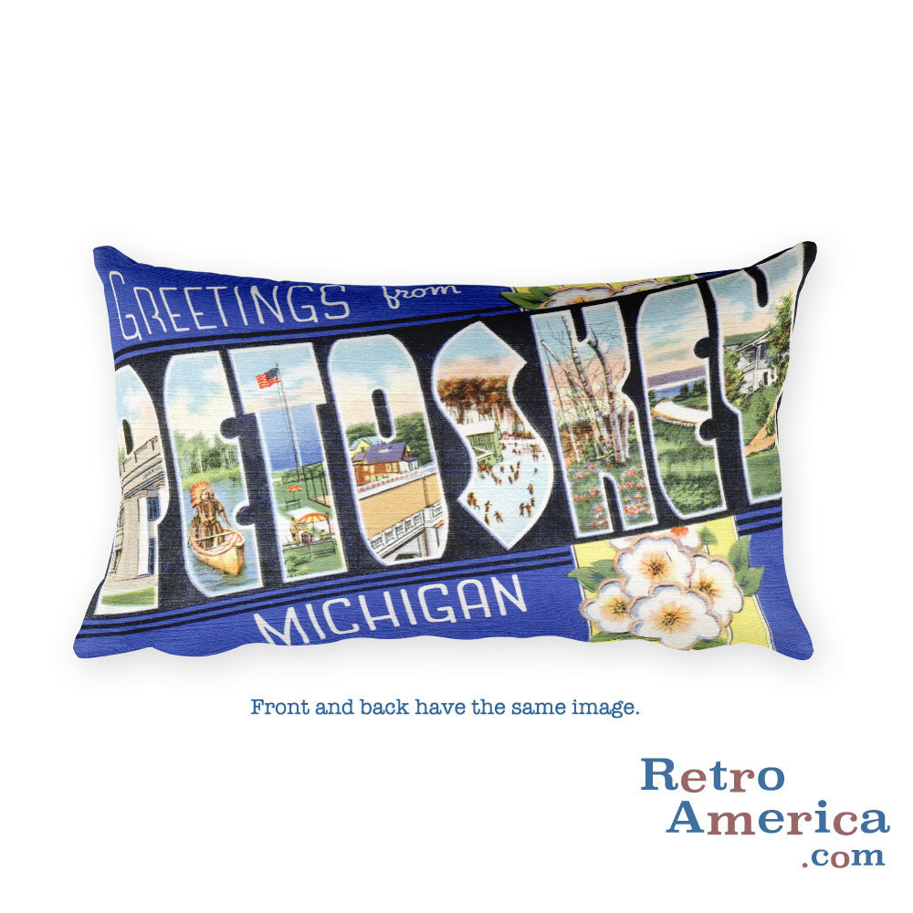 Greetings from Petoskey Michigan Throw Pillow
