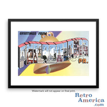 Greetings from Philadelphia Pennsylvania PA 2 Postcard Framed Wall Art