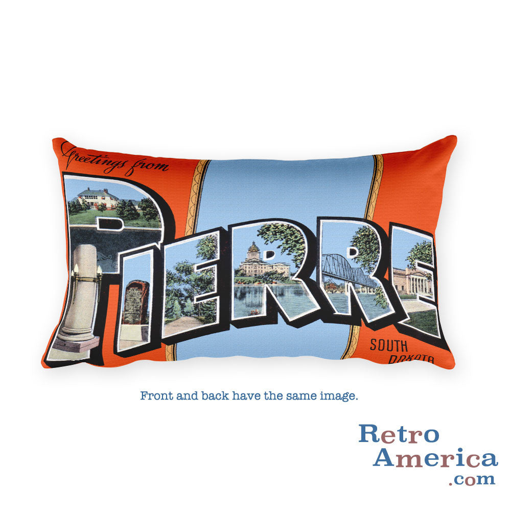 Greetings from Pierre South Dakota Throw Pillow
