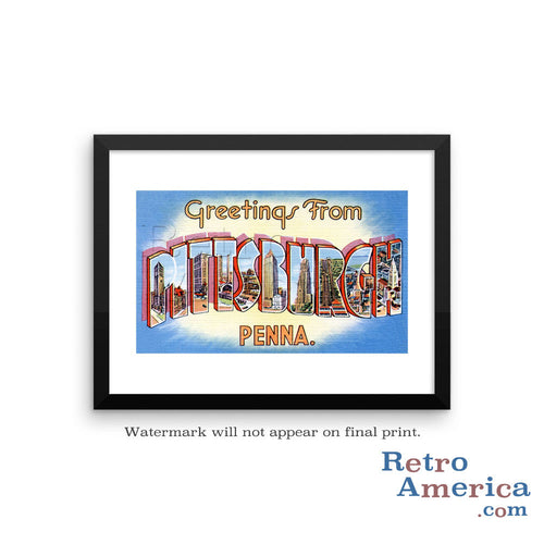 Greetings from Pittsburgh Pennsylvania PA 2 Postcard Framed Wall Art