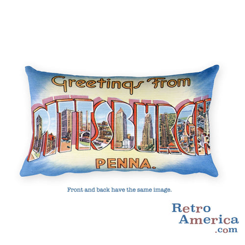 Greetings from Pittsburgh Pennsylvania Throw Pillow 2