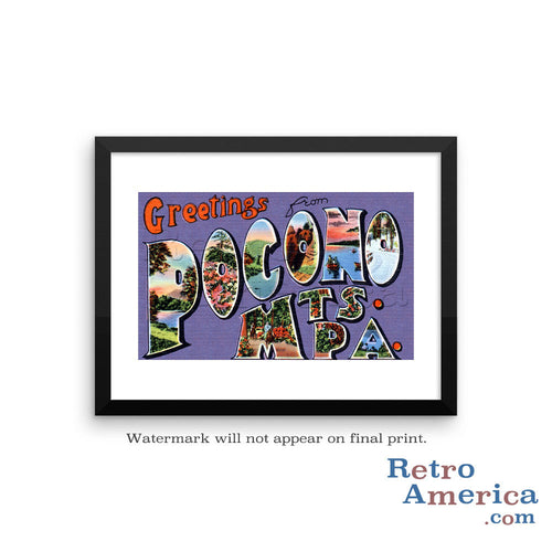Greetings from Pocono Mountains Pennsylvania PA Postcard Framed Wall Art