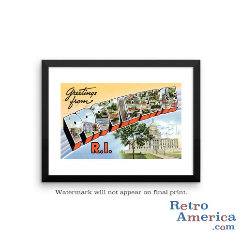 Greetings from Providence Rhode Island RI 2 Postcard Framed Wall Art
