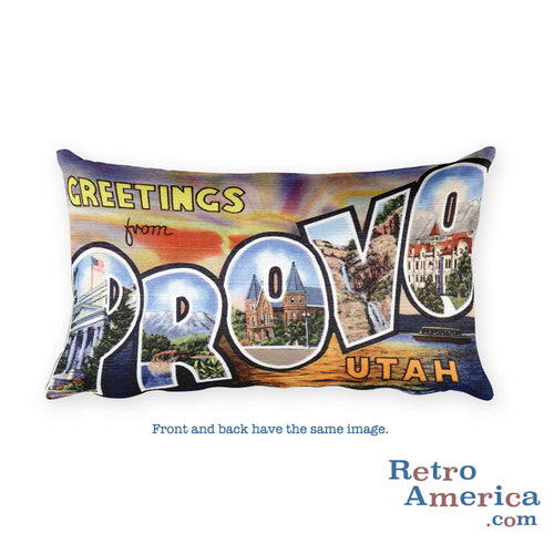 Greetings from Provo Utah Throw Pillow