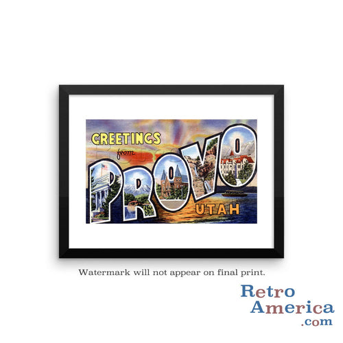 Greetings from Provo Utah UT Postcard Framed Wall Art