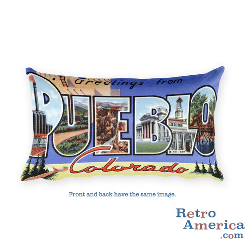 Greetings from Pueblo Colorado Throw Pillow