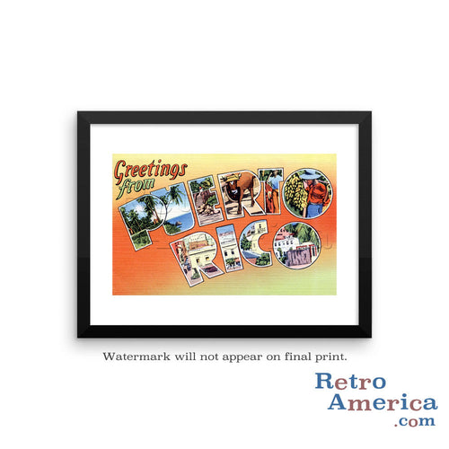 Greetings from puerto rico retroamerica greetings from puerto rico pr postcard framed wall art m4hsunfo