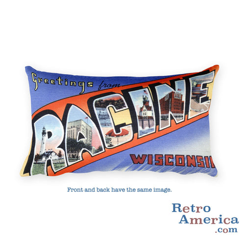 Greetings from Racine Wisconsin Throw Pillow