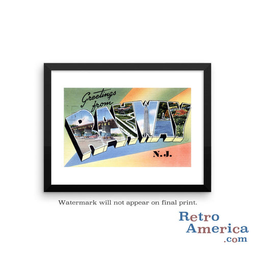 Greetings from Rahway New Jersey NJ Postcard Framed Wall Art