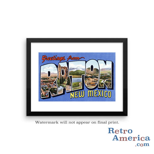 Greetings from Raton New Mexico NM Postcard Framed Wall Art