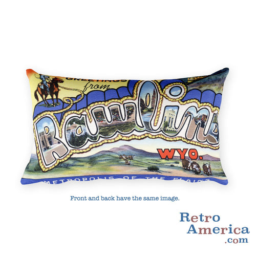Greetings from Rawlins Wyoming Throw Pillow