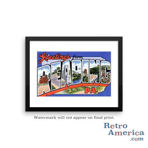 Greetings from Reading Pennsylvania PA 1 Postcard Framed Wall Art