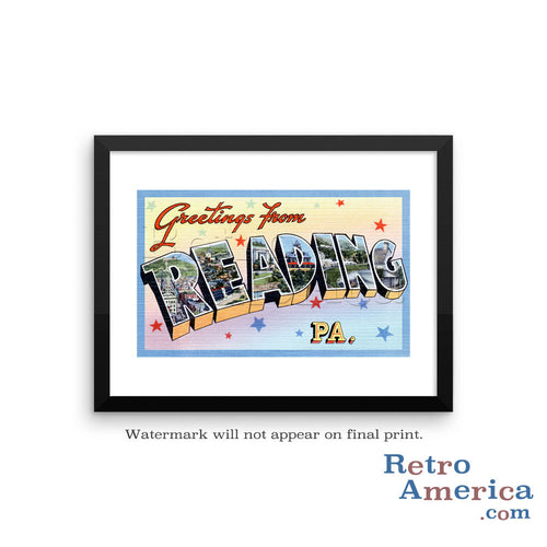 Greetings from Reading Pennsylvania PA 2 Postcard Framed Wall Art