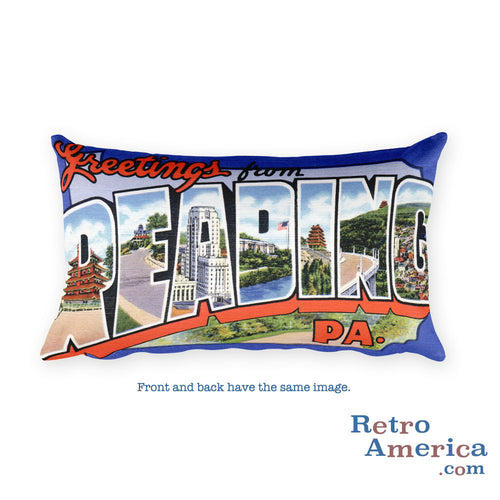 Greetings from Reading Pennsylvania Throw Pillow 1