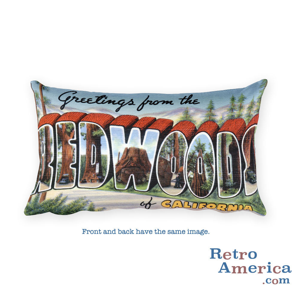 Greetings from Redwoods California Throw Pillow