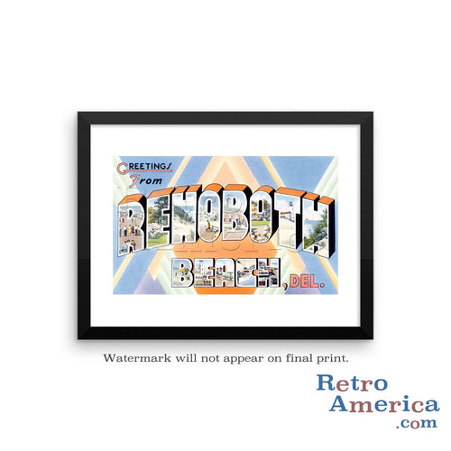 Greetings from Rehoboth Beach Delaware DE Postcard Framed Wall Art