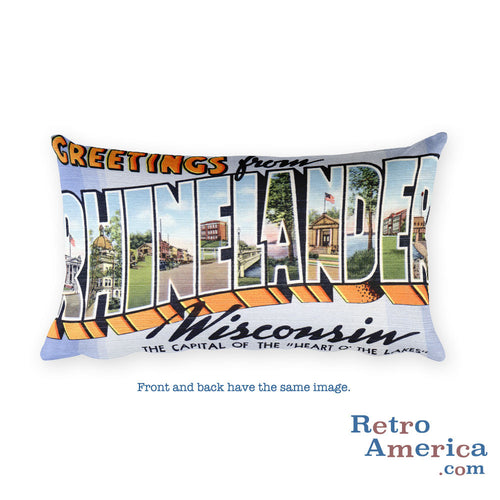 Greetings from Rhinelander Wisconsin Throw Pillow