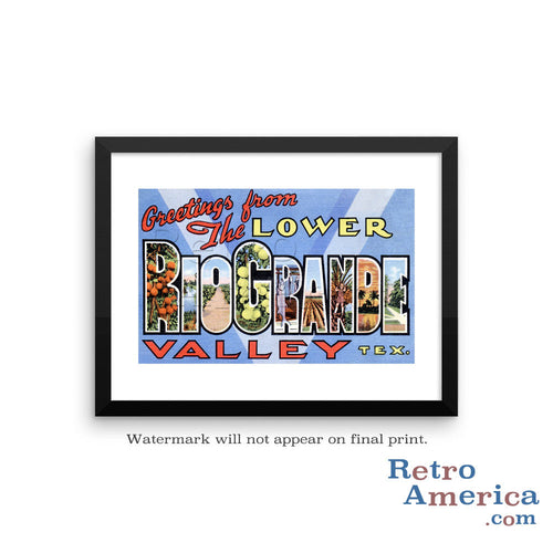 Greetings from Rio Grande Texas TX Postcard Framed Wall Art