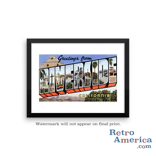 Greetings from Riverside California CA Postcard Framed Wall Art