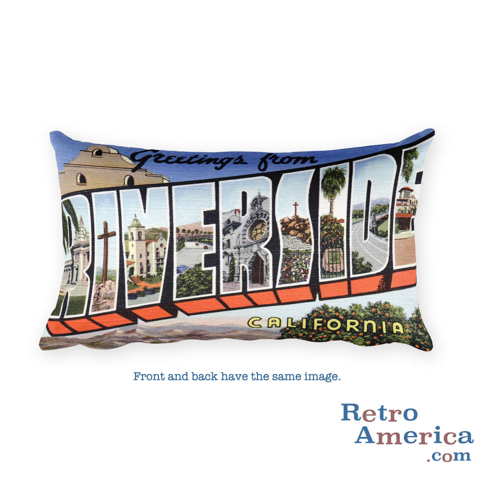 Greetings from Riverside California Throw Pillow