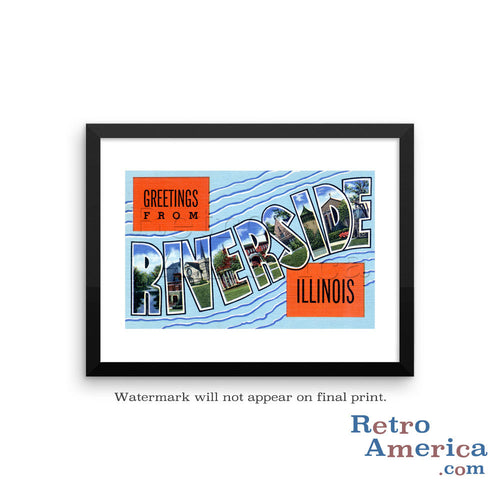 Greetings from Riverside Illinois IL Postcard Framed Wall Art