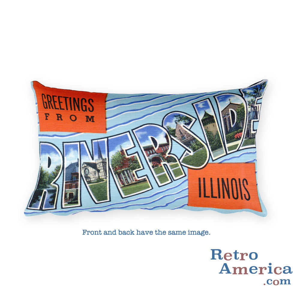 Greetings from Riverside Illinois Throw Pillow