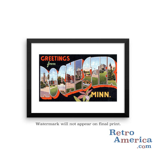 Greetings from Rochester Minnesota MN 1 Postcard Framed Wall Art