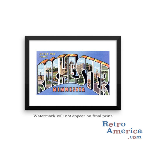 Greetings from Rochester Minnesota MN 2 Postcard Framed Wall Art
