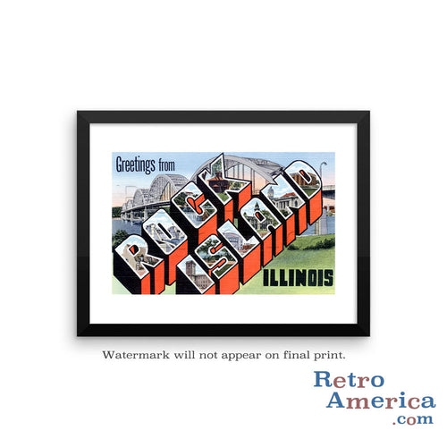 Greetings from Rock Island Illinois IL Postcard Framed Wall Art