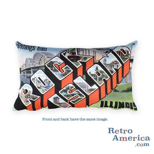 Greetings from Rock Island Illinois Throw Pillow