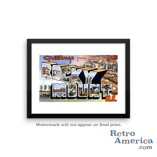 Greetings from Rocky Mount North Carolina NC Postcard Framed Wall Art