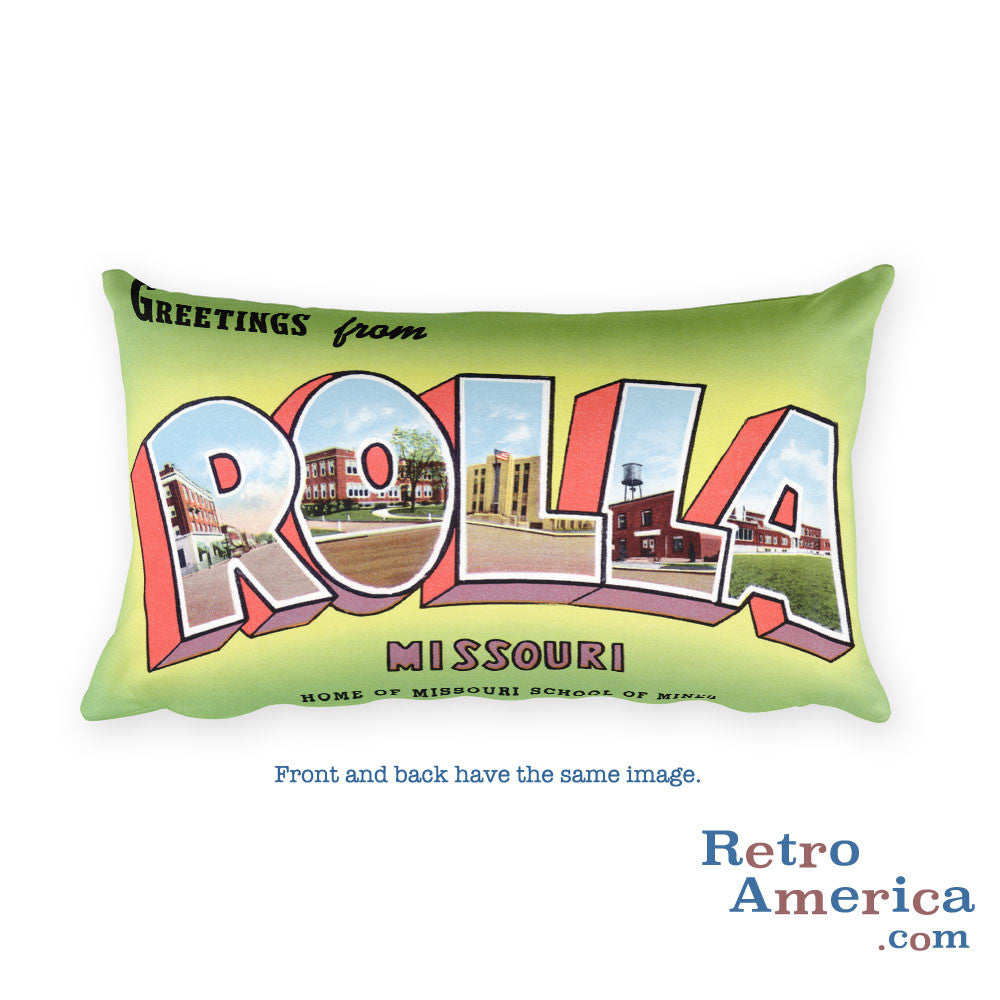 Greetings from Rolla Missouri Throw Pillow