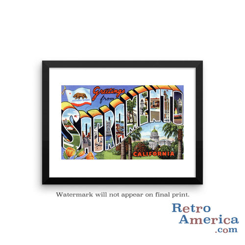 Greetings from Sacramento California CA 1 Postcard Framed Wall Art