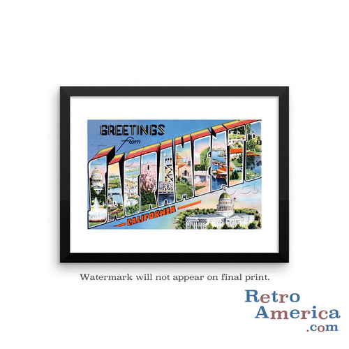 Greetings from Sacramento California CA 2 Postcard Framed Wall Art