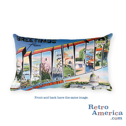 Greetings from Sacramento California Throw Pillow 2