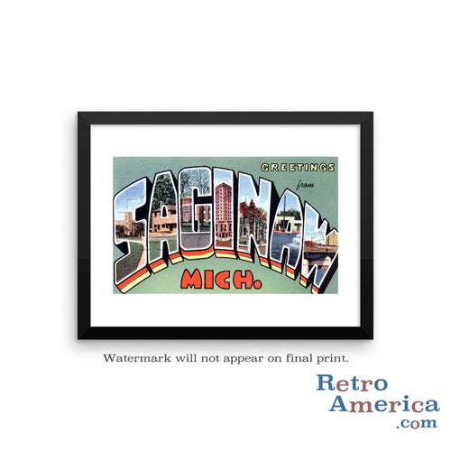 Greetings from Saginaw Michigan MI Postcard Framed Wall Art