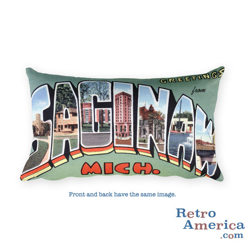 Greetings from Saginaw Michigan Throw Pillow
