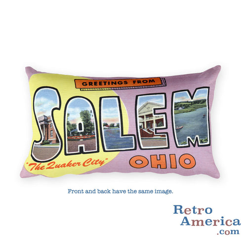 Greetings from Salem Ohio Throw Pillow