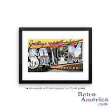 Greetings from Salem Oregon OR Postcard Framed Wall Art