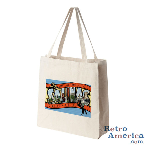 Greetings from Salinas California CA Postcard Tote Bag