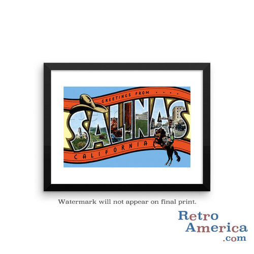 Greetings from Salinas California CA Postcard Framed Wall Art
