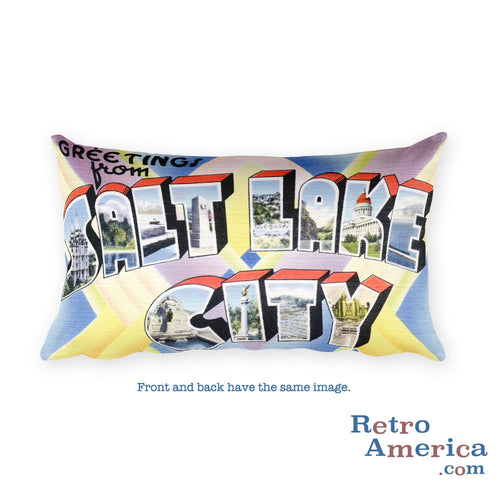 Greetings from Salt Lake City Utah Throw Pillow 1