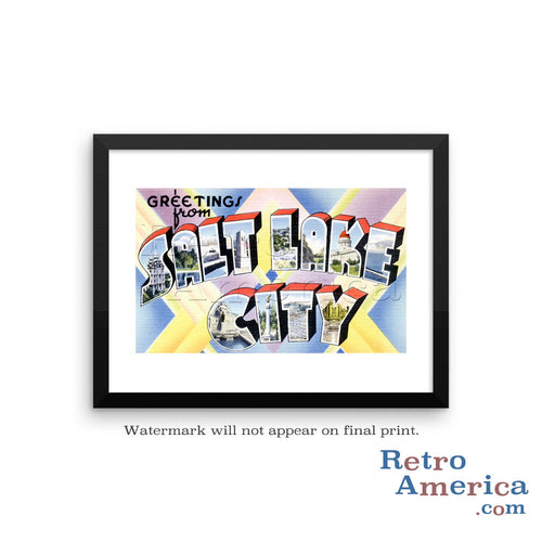 Greetings from Salt Lake City Utah UT 1 Postcard Framed Wall Art