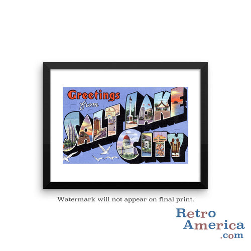 Greetings from Salt Lake City Utah UT 2 Postcard Framed Wall Art