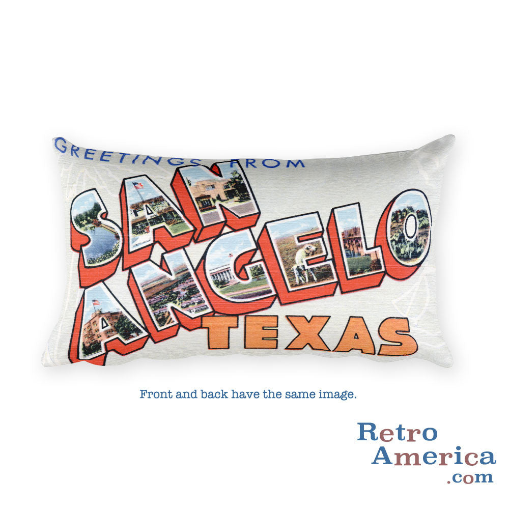Greetings from San Angelo Texas Throw Pillow