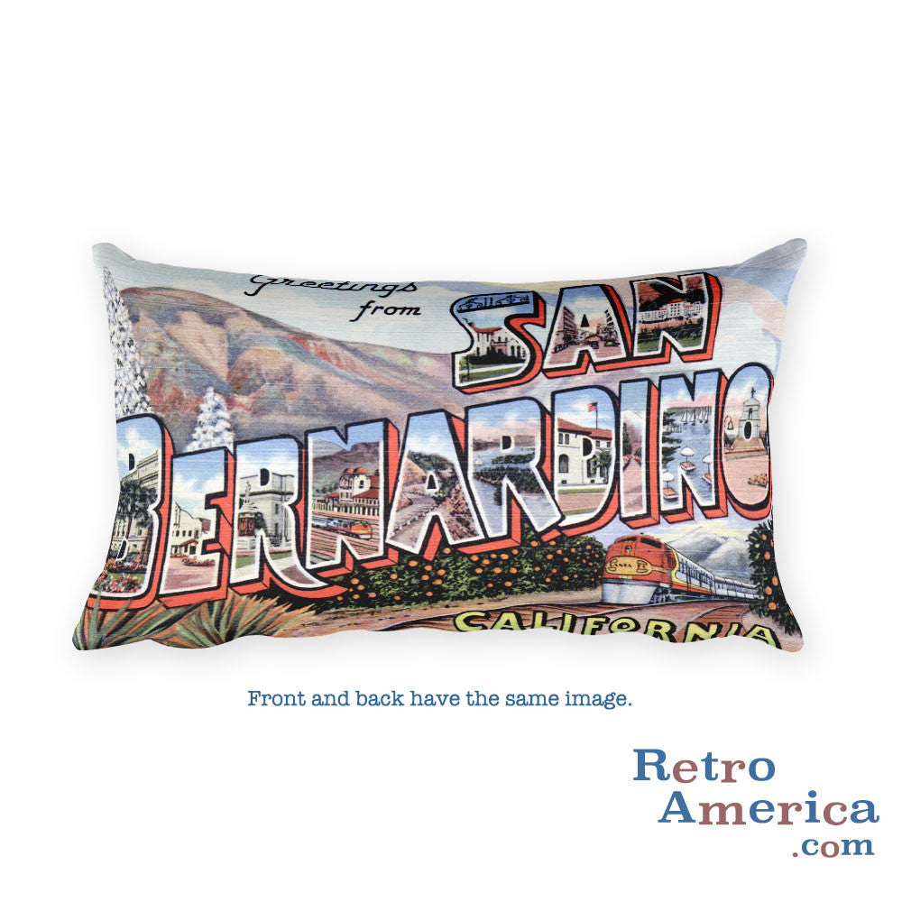 Greetings from San Bernardino California Throw Pillow