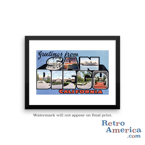 Greetings from San Diego California CA 1 Postcard Framed Wall Art